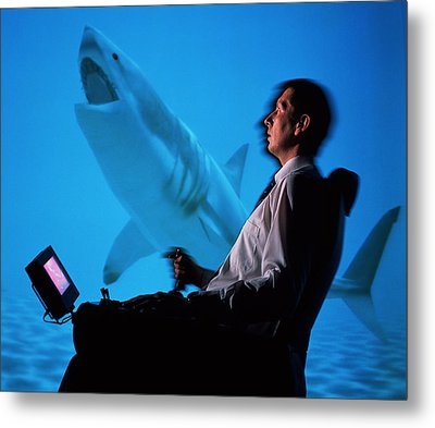 User In Reality Centre Simulator (underwater Set) Metal Print by David Parker