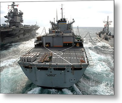 Usns Supply Conducts A Replenishment Metal Print by Stocktrek Images