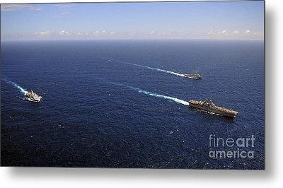 Uss Boxer, Uss Comstock And Uss Green Metal Print by Stocktrek Images