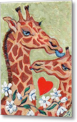 Metal Print featuring the painting Valentine Giraffes by Doris Blessington