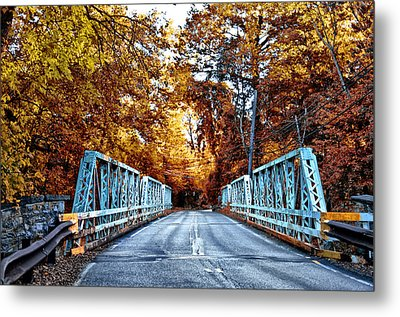 Valley Green Road Bridge In Autumn Metal Print by Bill Cannon