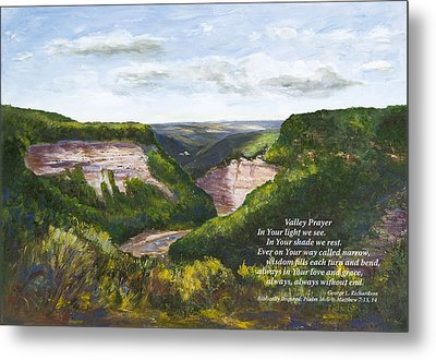 Metal Print featuring the painting Valley Prayer With Poem by George Richardson