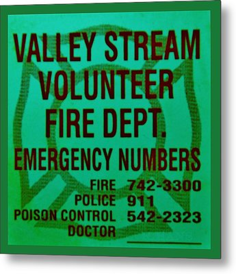 Valley Stream Fire Department In Irish Green Metal Print by Rob Hans