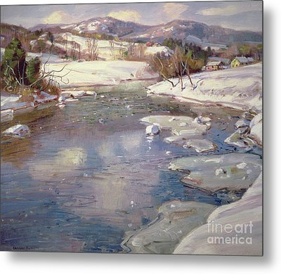 Valley Stream In Winter Metal Print