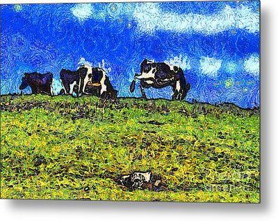 Van Gogh Goes Cow Tipping 7d3290 Metal Print by Wingsdomain Art and Photography
