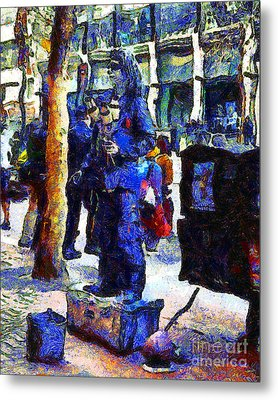 Van Gogh Is Captivated By A San Francisco Street Performer . 7d7246 Metal Print by Wingsdomain Art and Photography