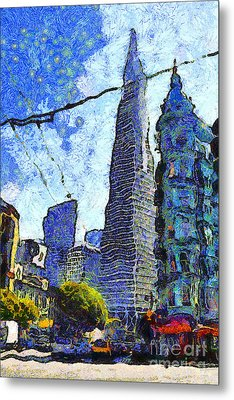 Van Gogh Sips Absinthe And Takes In The Views From North Beach In San Francisco . 7d7431 Metal Print by Wingsdomain Art and Photography