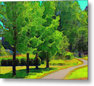 Metal Print featuring the mixed media Van Gogh Trees by Terence Morrissey