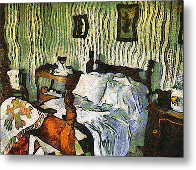 Metal Print featuring the painting Van Gogh's Bedroom by Mario Carini
