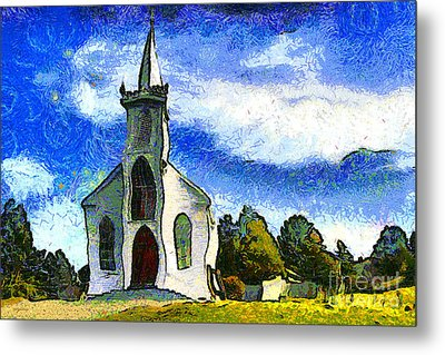 Van Gogh.s Church On The Hill 7d12437 Metal Print by Wingsdomain Art and Photography