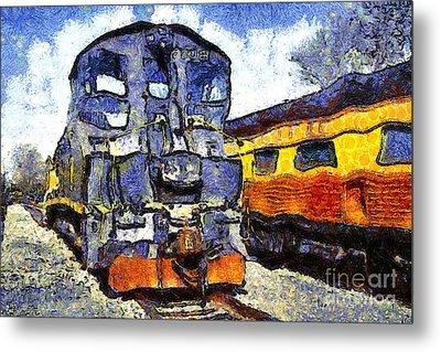 Van Gogh.s Locomotive . 7d11588 Metal Print by Wingsdomain Art and Photography