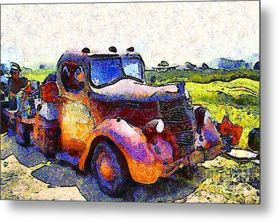 Van Gogh.s Rusty Old Jalopy . 7d15500 Metal Print by Wingsdomain Art and Photography