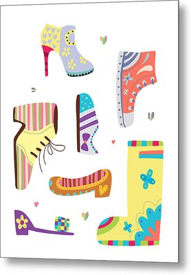 Various Kinds Of Shoes Metal Print by Eastnine Inc.
