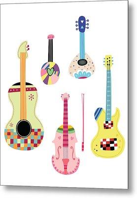 Various Kinds Of Stringed Instruments Metal Print by Eastnine Inc.