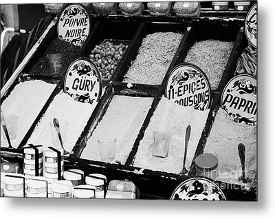 Various Spices Including Curry Black Pepper Couscous And Papricka On Stall At The Market In Nabeul Metal Print by Joe Fox