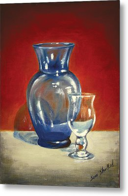Vase N Glass Goblet Metal Print by Sam Shacked