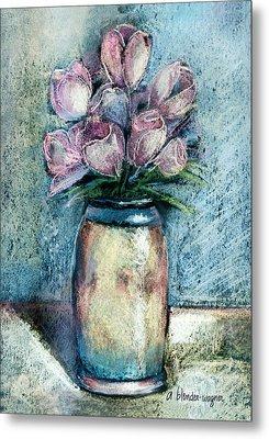 Vase Of Pink Tulips Metal Print by Arline Wagner