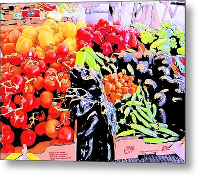 Vegetables On Display Metal Print by Kym Backland