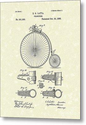Velocipede Latta 1888 Patent Art Metal Print by Prior Art Design