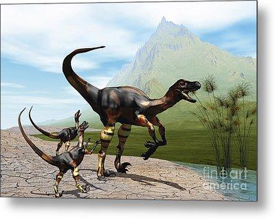 Velociraptor Offspring Beg Mother Metal Print by Corey Ford