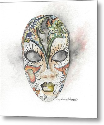 Venetian Mask Iv Metal Print by Mary Dunham Walters