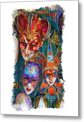 Venetian Masks Metal Print by Judy Deist