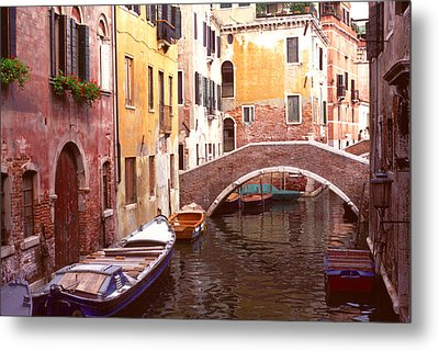 Venice Bridge Over A Small Canal. Metal Print