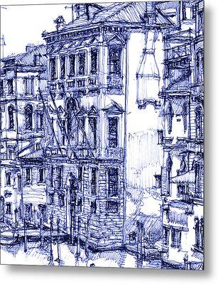 Venice Detail In Blue Metal Print by Building  Art