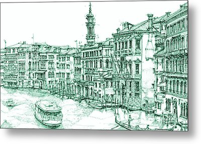 Venice Drawing In Green Metal Print by Building  Art