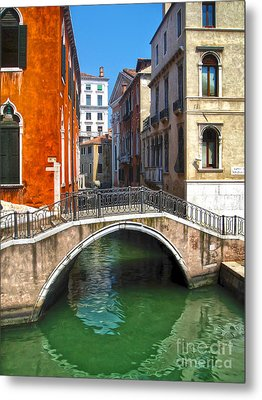 Venice Italy - Canal Bridge Metal Print by Gregory Dyer