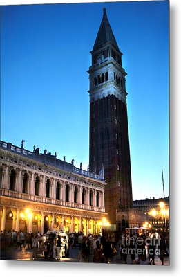 Venice Italy - Saint Marks Campanile At Night Metal Print by Gregory Dyer