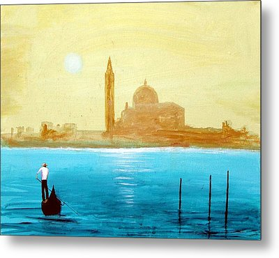 Venice Sunset Metal Print by Larry Cirigliano