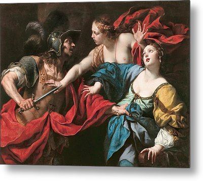 Venus Preventing Her Son Aeneas From Killing Helen Of Troy Metal Print