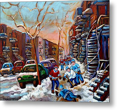 Verdun Montreal Hockey Game Near Winding Staircases And Row Houses Montreal Winter Scene Metal Print by Carole Spandau