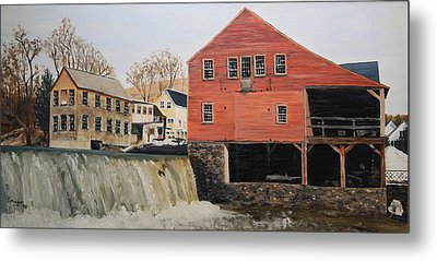 Vermont Mill Stream Metal Print by Alan Mager
