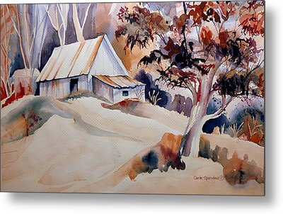 Vermont Sugar Shack Cabin In Winter Metal Print by Carole Spandau