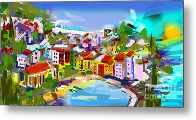 Vernazza Italy Cinque Terre Digital Painting Metal Print by Ginette Callaway