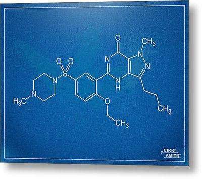 Viagra Molecular Structure Blueprint Metal Print by Nikki Marie Smith