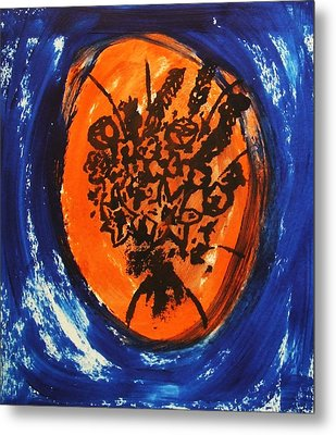 Metal Print featuring the painting Victorian Contemporary Flowers In Blue And Orange Vortex Swirls Acrylic Monoprint Serigraph by M Zimmerman