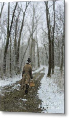 Victorian Gentleman Walking Through Woods Metal Print by Jill Battaglia