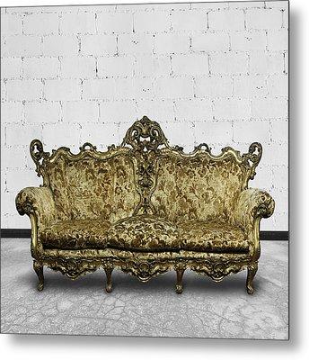 Victorian Sofa In White Room Metal Print by Setsiri Silapasuwanchai