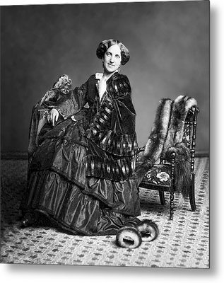 Victorian Woman With Furs C. 1853 Metal Print by Daniel Hagerman
