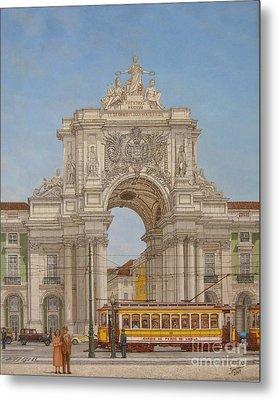 Victory Ach Lisbon - Arco Da Vitoria Lisboa Metal Print by Carlos De Vasconcelos Tavares