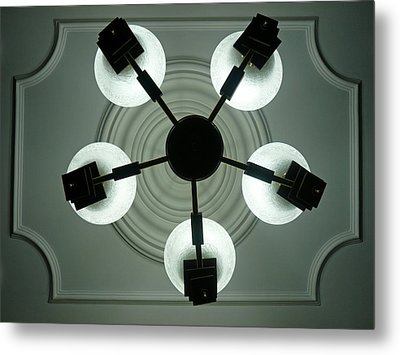 View Of 5 Bulb Chandelier Against A Decorated Ceiling From Underneath Metal Print