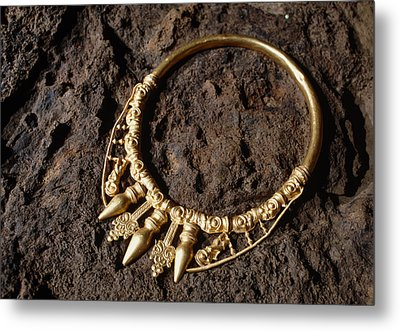 View Of A Golden Celtic Necklace During Excavation Metal Print by Volker Steger