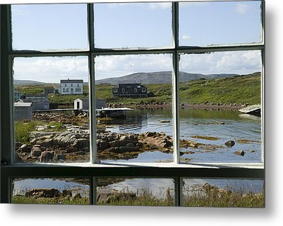 View Of A Harbor Through Window Panes Metal Print by Pete Ryan