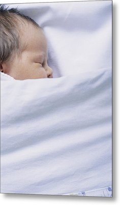 View Of A Premature Baby Asleep In A Cot Metal Print by Mauro Fermariello