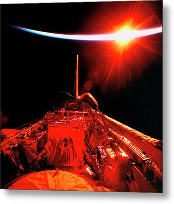 View Of An Eclipse From Space Metal Print by Stockbyte