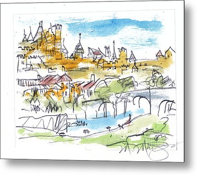 View Of Carcassone France Metal Print