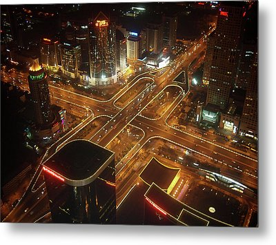View Of Cityscape At Night Metal Print by Philip M Walker